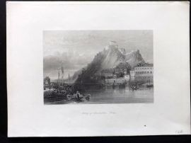 Wright C1850 Antique Print. Fortress of Ehrenbreitstein, Rhine, Germany